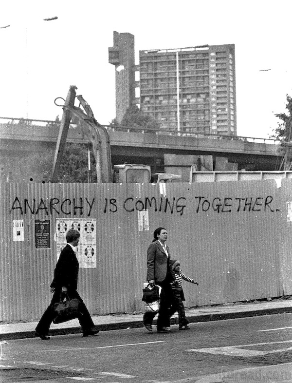 Anarchy is coming together; The structure of anarchy, maintains individuality whilst allowing people to work together, and leave each other in peace.